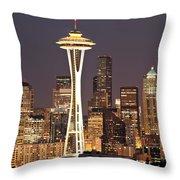 Seattle Full Moon Throw Pillow