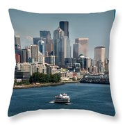 Seattle By Ferry Throw Pillow