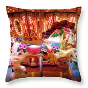 Seattle Carousel Horse Throw Pillow