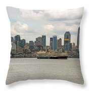 Seattle City Skyline Along Elliott Bay Throw Pillow