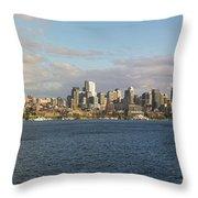 Seattle City Skyline Along Lake Union Throw Pillow