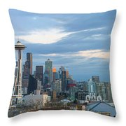 Seattle City Skyline At Dusk Panorama Throw Pillow