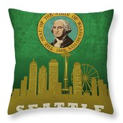 Seattle City Skyline State Flag Of Washington Art Poster Series 017 Throw Pillow