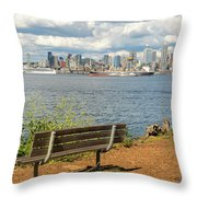 Seattle City Skyline View From Alki Beach Throw Pillow