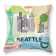 Seattle Cityscape- Art By Linda Woods Throw Pillow