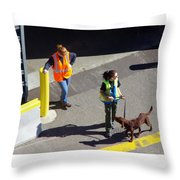 Seattle Dock Dog Workers 1 Throw Pillow