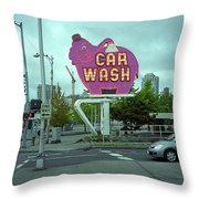Seattle - Elephant Car Wash 2 Throw Pillow