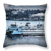 Seattle Ferry Throw Pillow