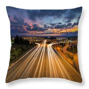Seattle Freeway Light Trails Throw Pillow