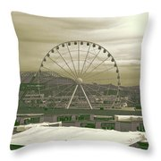 Seattle Great Wheel And Pier 57 Throw Pillow
