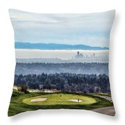 Seattle In The Fog Throw Pillow