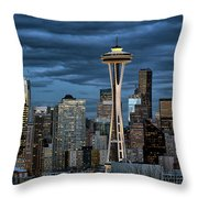 Seattle Night Throw Pillow