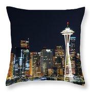 Seattle Night Sky Throw Pillow