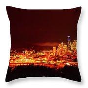 Seattle Night Traffic Too Throw Pillow