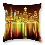 Seattle Panorama Reflection In Elliot Bay Throw Pillow by Tim Rayburn
