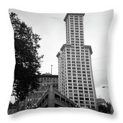 Seattle - Pioneer Square Tower Bw Throw Pillow
