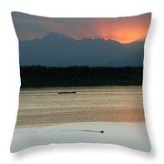 Seattle Shilshole Bay Sunset  Throw Pillow