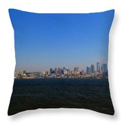 Seattle Skyline And Space Needle Throw Pillow