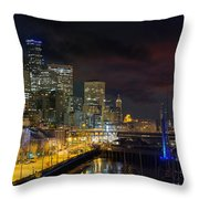 Seattle Skyline By The Pier Throw Pillow