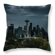 Seattle Skyline - Dramatic Throw Pillow