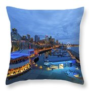 Seattle Skyline From The Waterfront At Blue Hour Throw Pillow