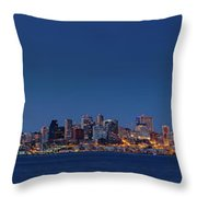 Seattle Skyline In Twilight With Clear Sky Throw Pillow
