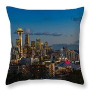 Seattle Skyline Panorama Throw Pillow