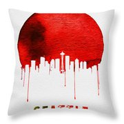 Seattle Skyline Red Throw Pillow