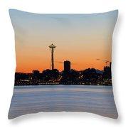 Seattle Skyline Silhouette At Sunrise Throw Pillow