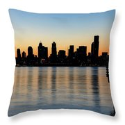 Seattle Skyline Silhouette At Sunrise From The Pier Throw Pillow