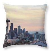 Seattle Skyline With Mount Rainier During Sunrise Panorama Throw Pillow
