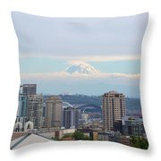 Seattle Skyline With Mt Rainier In Clouds Throw Pillow