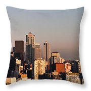 Seattle Sunset Panorama Throw Pillow