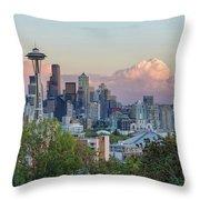 Seattle Washington City Skyline At Sunset Throw Pillow