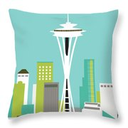 Seattle Washington Vertical Skyline - Teal Throw Pillow