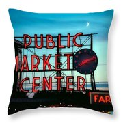 Seattle's Public Market Center At Sunset Throw Pillow