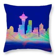 Seatttle Skyline Rainbow Watercolor Throw Pillow