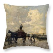 Seaweed Gatherers Throw Pillow by Terrick Williams