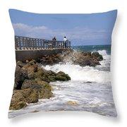Sebastian Inlet In Florida Throw Pillow