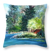 Secluded Boathouse-millsite Lake  Throw Pillow by Jan Byington