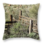 Secluded Historic Corral In Sonoran Desert Throw Pillow