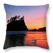 Second Beach Sunset Throw Pillow