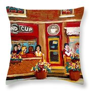 Second Cup Coffee Shop Throw Pillow