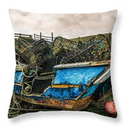 An Old Boat Turned In A Fyke Storage Place. Second Life.i Found This Near The Sea In Uig, Scotland. Throw Pillow