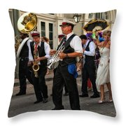 Second Line Wedding On Bourbon Street New Orleans Throw Pillow