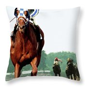 Secretariat Winning The Belmont Stakes, Jockey Ron Turcotte Looking Back, 1973 Throw Pillow