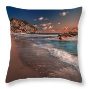 Secret Beach Greece Throw Pillow