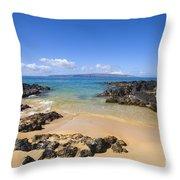 Secret Beach Of Kahoolawe And Molokini Throw Pillow