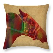 Secretariat Horse Race Watercolor Portrait Throw Pillow