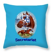 Secretariat Racehorse Portrait Throw Pillow